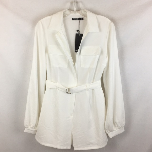 Nasty Gal Pants - Nasty Gal White Belted Zip Up Romper Shorts